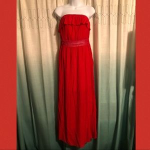 No Boundaries Red Strapless Maxi Dress L 11-13 NWT